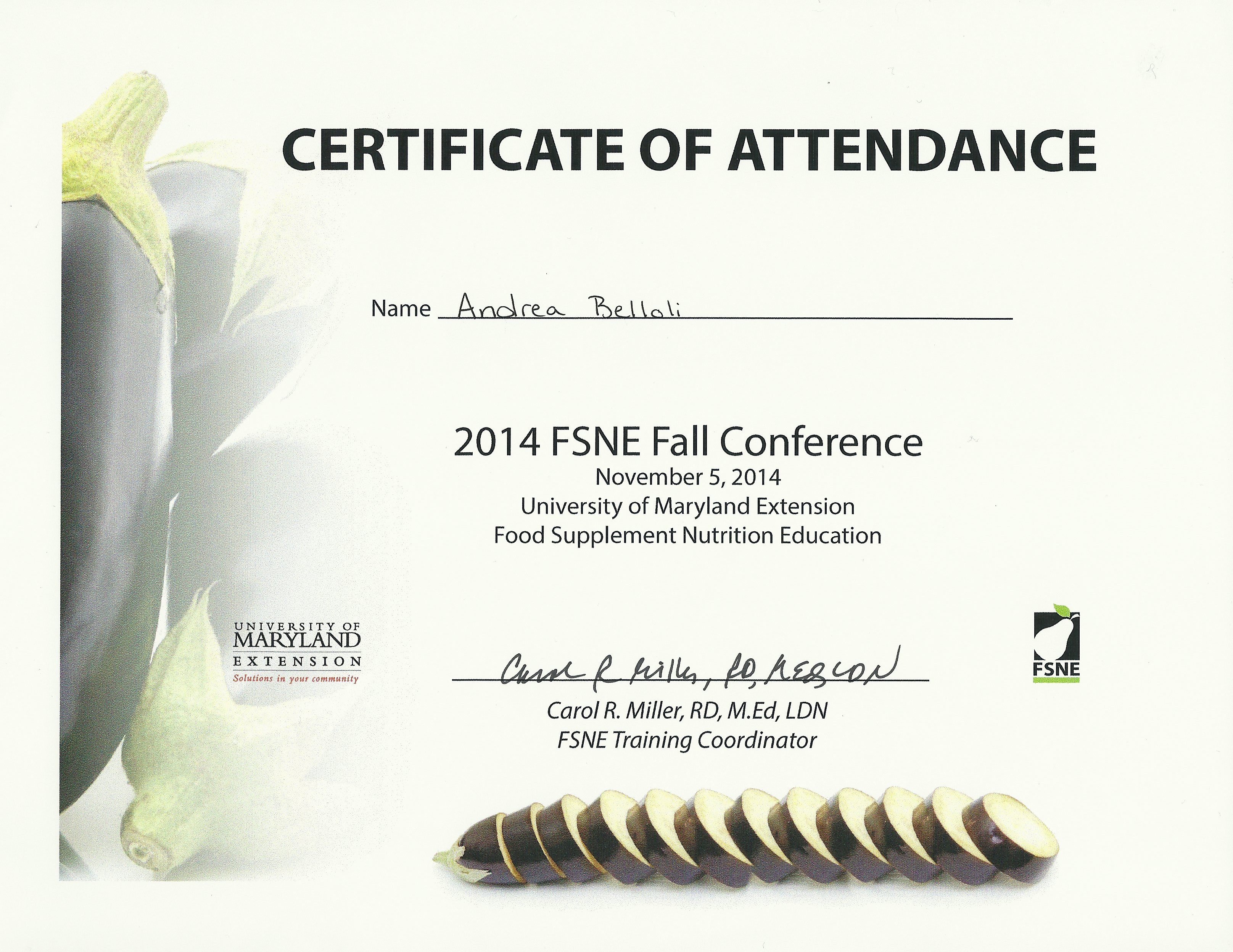 Conferencesevents andrea belloli dietetics portfolio attended the fall fsne conference and participated in teamwork activities and workshops certificate of attendance yadclub Images